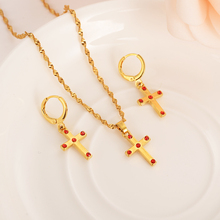 Gold Bridal Jewelry Sets red stoneChrist cross Earring pendant necklace Jewelry Sets for Women girls wedding Christmas kids gift bridal jewelry sets wedding necklace earring for brides party accessories gold plated crystal decoration women