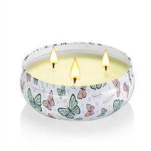 Image 3 - Bougies parfumées de plante en fer blanc 14oz, grand pot, huile essentielle écologique, sans fumée, trois cœurs, lumières