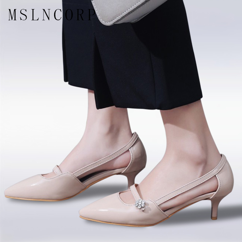 Size 34-47 New Fashion Summer Women Shoes Sexy Thin Medium High Heels Pointed Toe Pumps Mary Jane Sandals Stiletto Shallow Mouth серьги paola visconti серьги