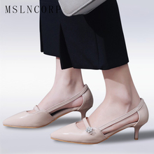 цены Size 34-47 New Fashion Summer Women Shoes Sexy Thin Medium High Heels Pointed Toe Pumps Mary Jane Sandals Stiletto Shallow Mouth