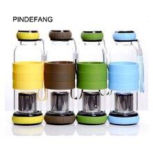450ml Creative Pumpkin Heat-resistant Glass Sport bottle with Tea Strainer Portable Outdoor Tumbler Sporting Water Tea Bottle