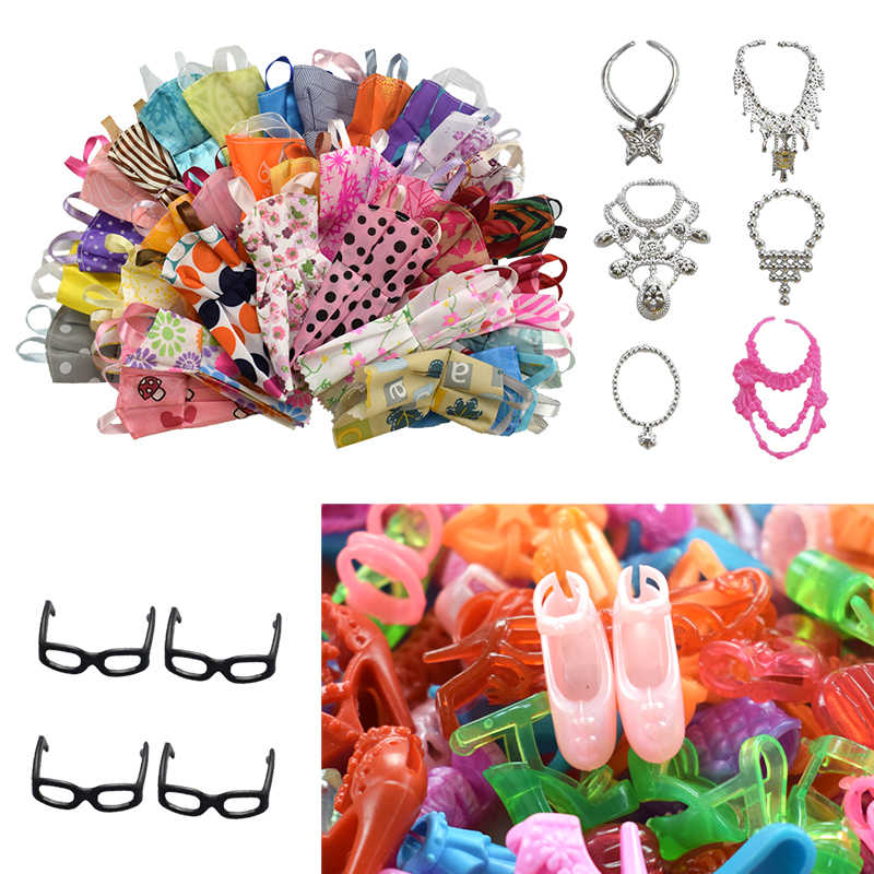 30 Item/Set Doll Accessories=10 Pcs Doll Clothes Dress+4 Glasses+6 Plastic Necklace+10 Pairs Doll Shoes for Barbie Accessories