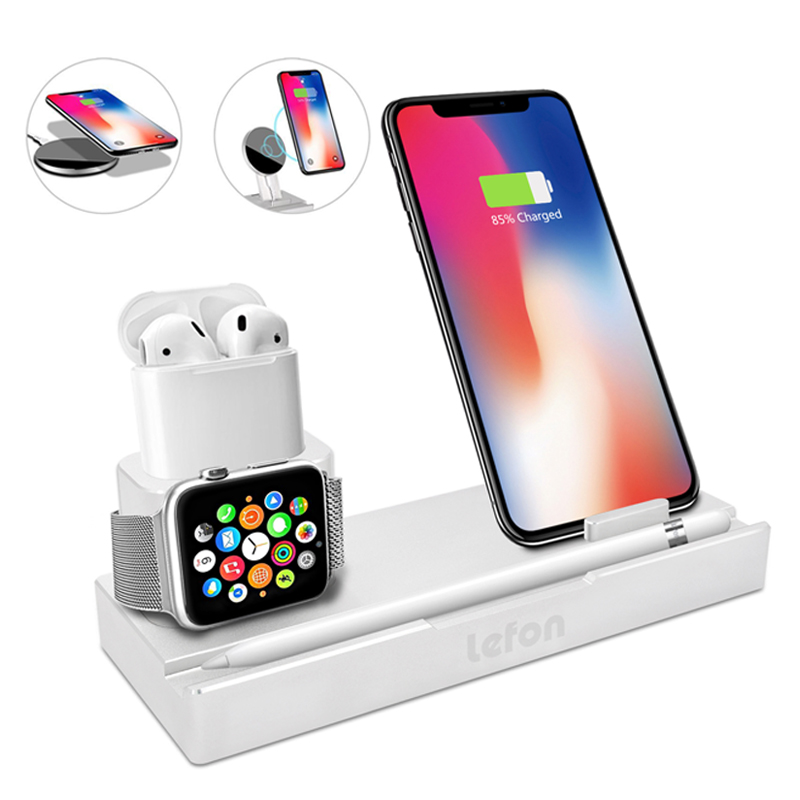 Lefon Qi Wireless Charger Charging Station for iPhone Samsung Smartphone Aluminum Charger Stand for Airpods Apple Watch Pencil-in Chargers from Consumer Electronics