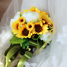 Yellow sunflowers White Peony Buquet de noiva Bouquets For Brides Brooch Wedding Outside Artificial flowers