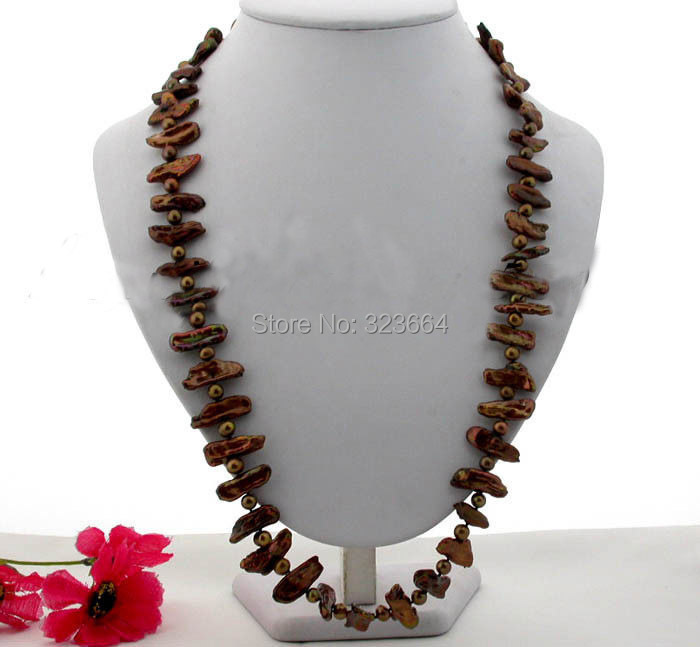 Great 29 25mm coffee baroque dens freshwater pearl necklace