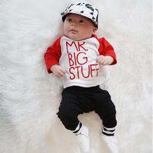 2pcs!!Autumn Spring Newborn Toddler Baby Boys Girls Outfits Long Sleeve Letter Cotton Tops +Black Long Pants Clothes Set