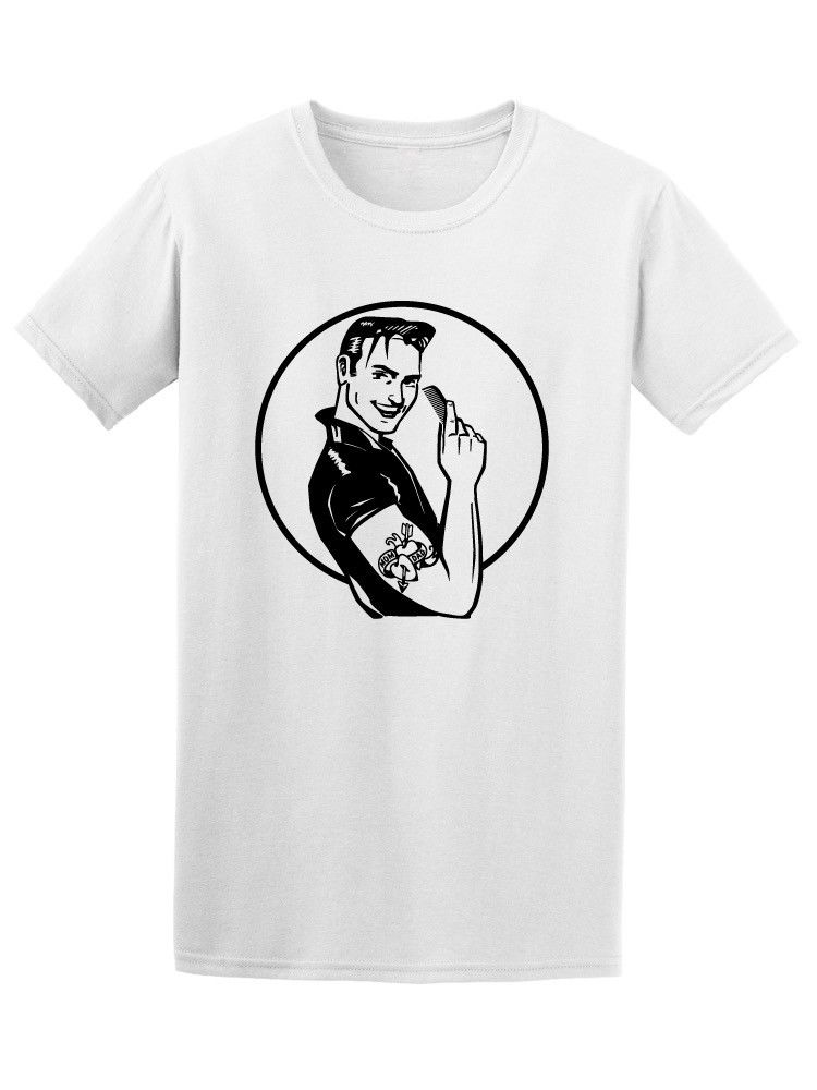 Retro Fifties Grease Guy Mens Tee -Image by Shutterstock Teenage Natural Cotton Printed top tee