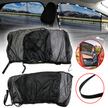 4pcs Front+Rear Side Car Window Sun Shade Shield UV Mesh Large Cover Black Auto Sunshade Curtain Fabric