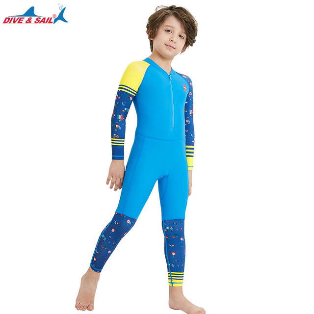 587ca58eeb5a70 Dive Sail One Piece Swimsuit Long Sleeve UPF 50+ Kids Diving Rash Guard  Swimwear For Girl Boy Sun protective Beach Suit Wetsuit-in Children's One- Piece ...