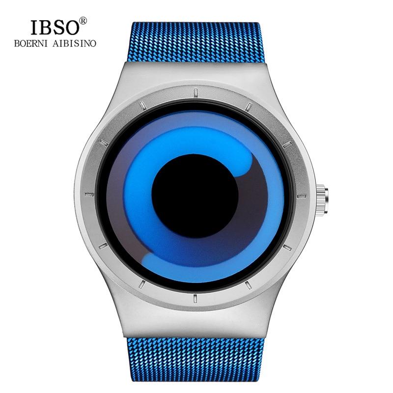 IBSO Rotate Creative Design Mens Watches 2017 Blue Stainless Steel Mesh Strap Sport Quartz Watch Men