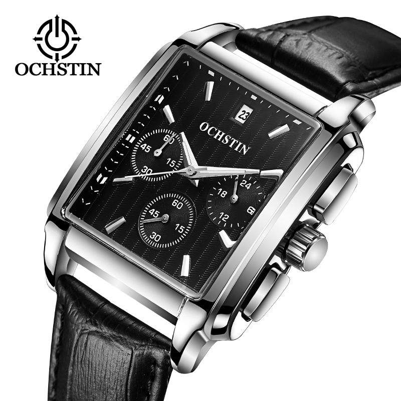 2017 Luxury Brand OCHSTIN Military Watch Men Quartz Analog Clock Men Leather Strap Clock Man Sports Watches Army Relogio senors men s quartz watches sports watches waterproof luxury leather strap military watch couple wristwatches clock for men