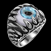 Gothic Exaggerated Titanium Steel Big Ring Men Vintage Punk Rock Blue Monster Eye High Quality Unisex Jewelry 2017 New Arrival