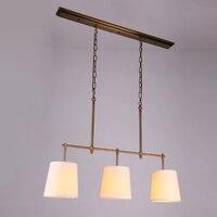3 головки лампы Медь кулон lighta французской антикварной Винтаж гладить крышка ткани светло ресторан бар гостиная лампа ZH