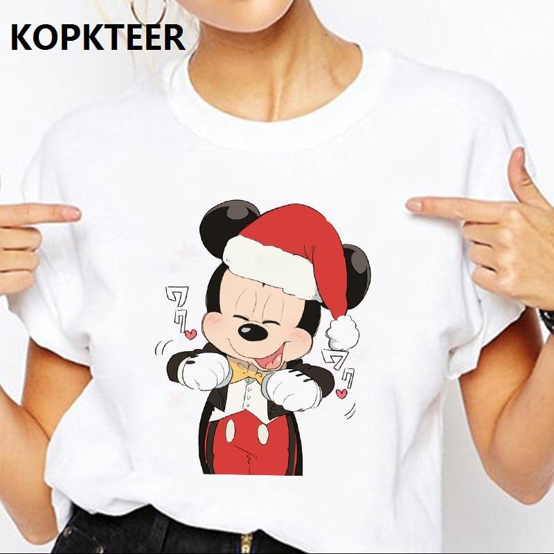 Camiseta de Mujer Harajuku Camiseta Navidad Mickey gráfico camisetas ropa de calle para Mujer Camisetas estéticas coreanas Camiseta Mujer