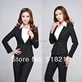 Primavera 2015 nova outono formais preto Blazers ternos de carreira mulheres de Slim calças elegantes ternos escritório senhoras ternos para Wear trabalho define