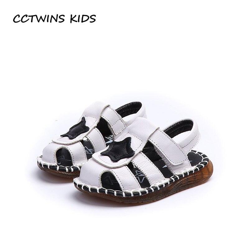 CCTWINS KIDS 2018 Summer Children Genuine Leather Casual Shoe Baby Boy Brand Beach Sandal Toddler Star Soft Flat BB073