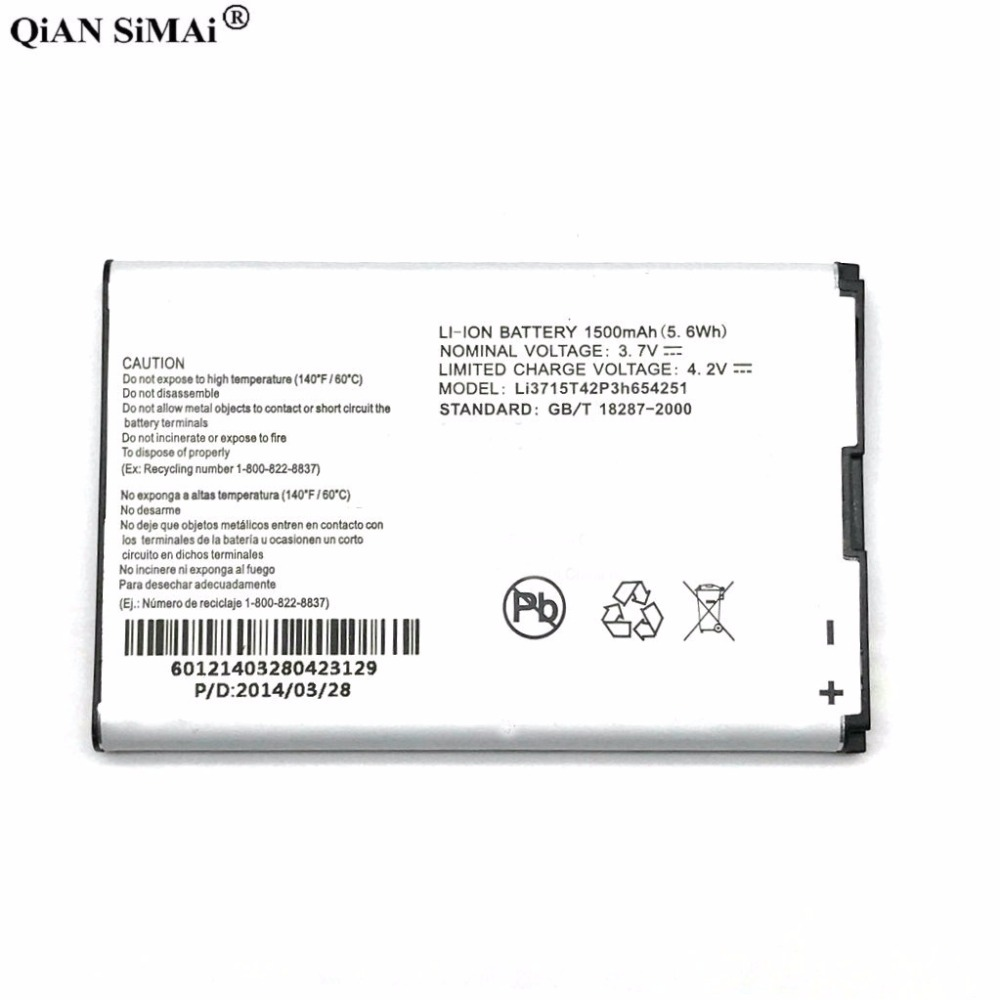 New High Quality LI3715T42P3H654251 1500mAh <font><b>battery</b></font> For <font><b>ZTE</b></font> U900 N700 U722 U720 U806 X920 MF30 MF61 <font><b>MF60</b></font> phone image