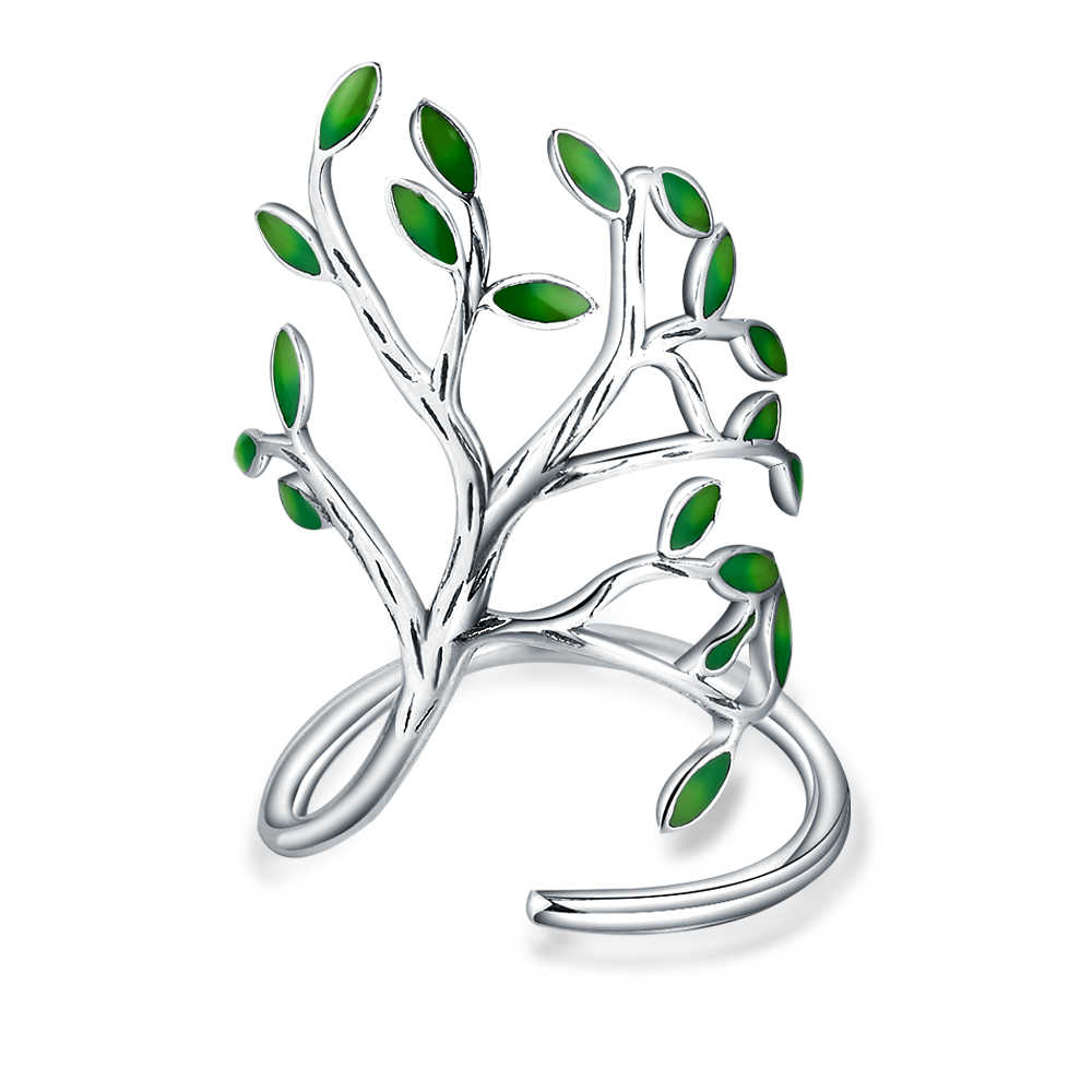 Latest Authentic 100% 925 Sterling Silver Jewelry Enamel Tree Shaped Ring Cool Women Wedding Engagement Party Accessory