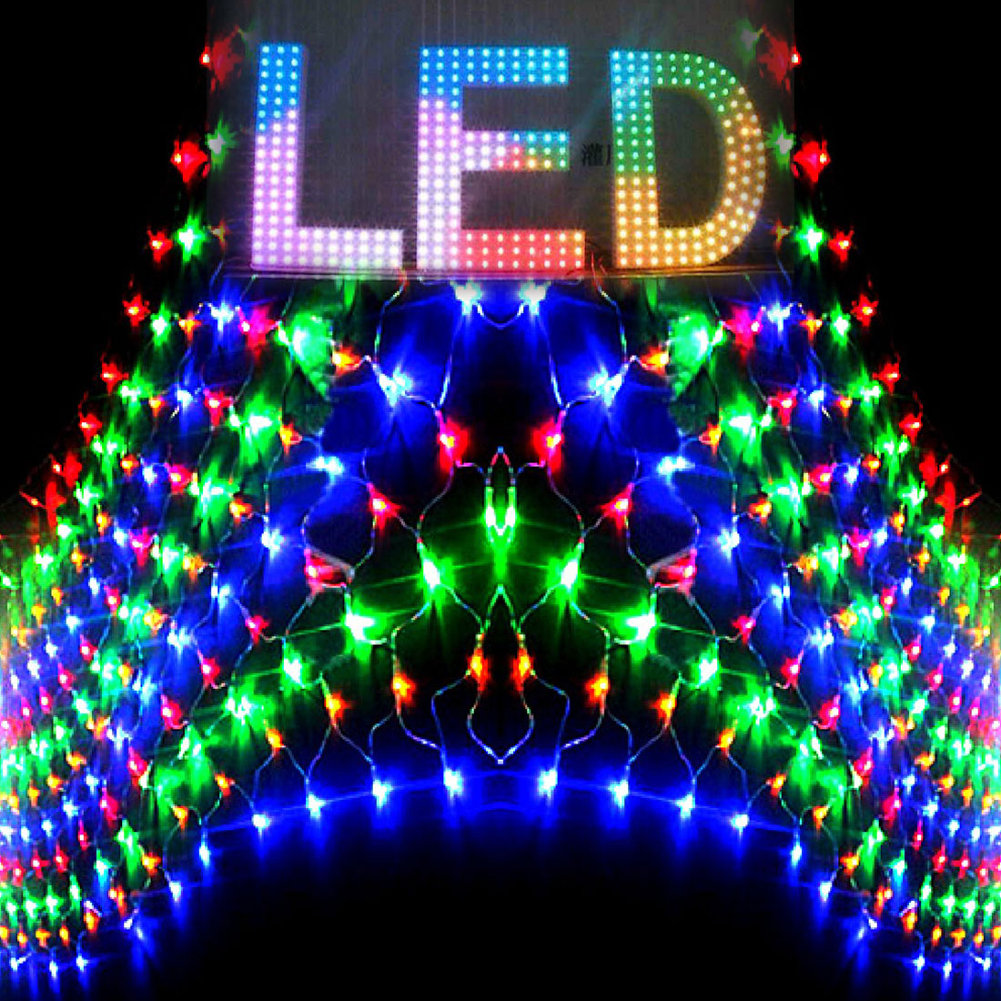 1pc New LED Net Christmas Lights 3 x2M 204 LEDS 4 colours to Choose Outdoor 110V/220V US/EU Plug Waterproof LED Net Light ...