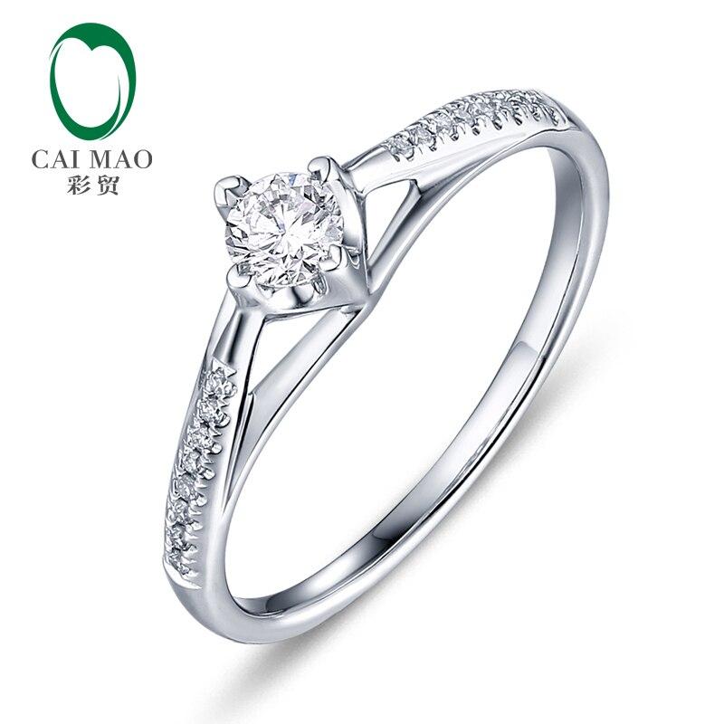 CaiMao 0.18ct Natural Round F VS Diamond 14K White Gold Engagement Wedding Ring caimao 0 18ct natural round f vs diamond 14k white gold engagement wedding ring