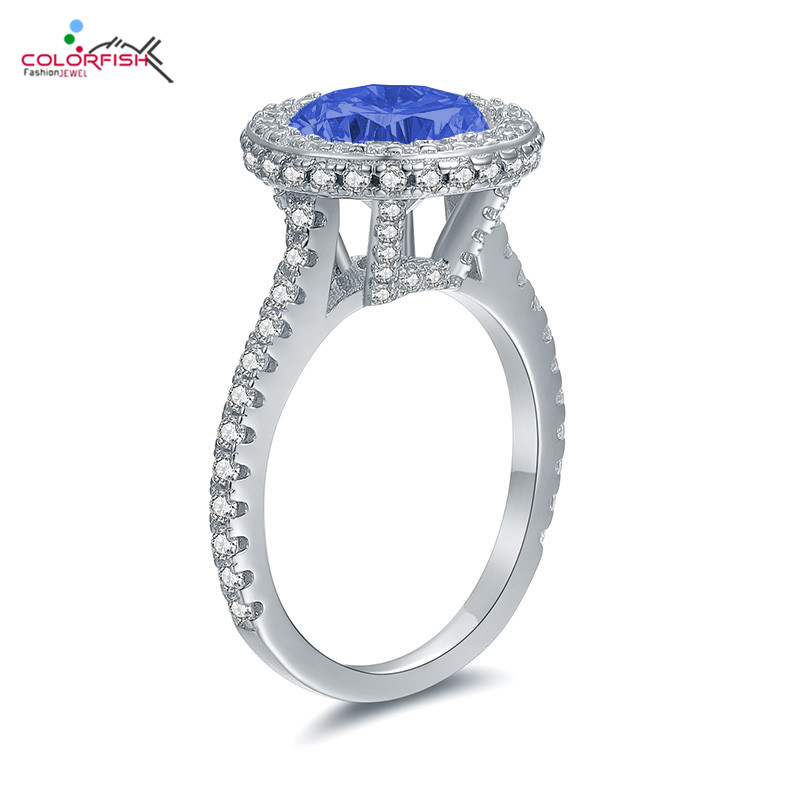 COLORFISH Luxury 3ct Halo Engagement Ring Blue Round Cut Stone Female Wedding Jewelry Solid 925 Sterling Silver Rings For Women
