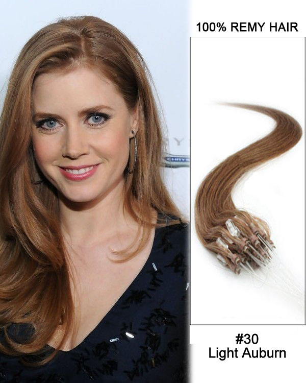 30 Light Auburn Straight Micro Loop 100 Remy Hair Extensions 100