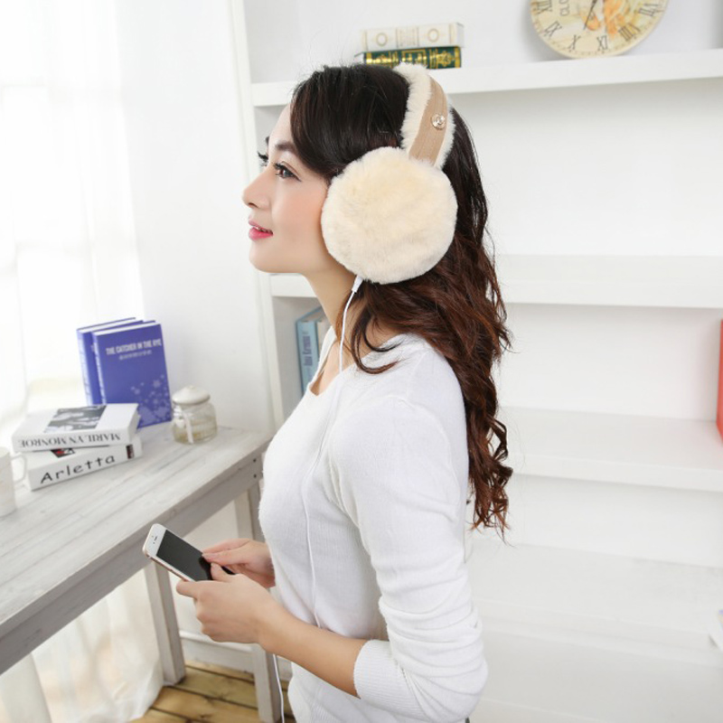 Plush Female Winter Earmuff Warm Ear Muffs Headphones Girls Earmuffs Music Earphones Faux Fur Headphones