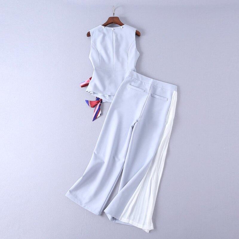 Mode Sans Jambes Larges Nouvelle Piste Pantalon Gilet Concepteur 2018 Femme Costume Ensemble Manche À UqHB41F