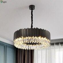 цены Modern Lustre Round Steel E14 Led Pendant Lights Foyer K9 Crystal Led Pendant Lamp Indoor Lighting Adjustable Chain Hang Lamp