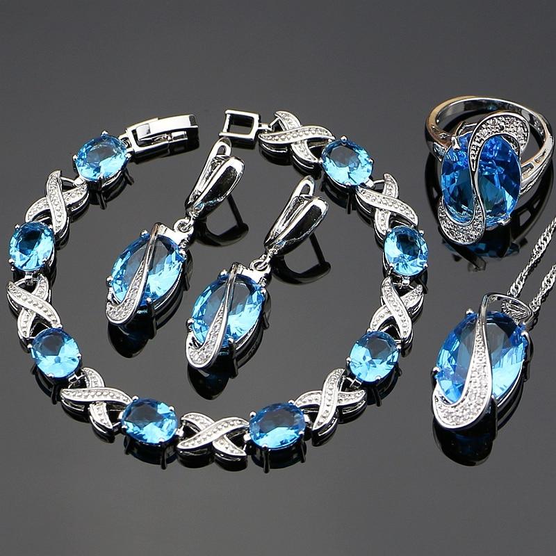 Kék köbös cirkónia ékszerek Fehér CZ 925 Ezüst ékszer szett Női fülbevalók / Medál / Nyaklánc / Gyűrűk / Karkötő
