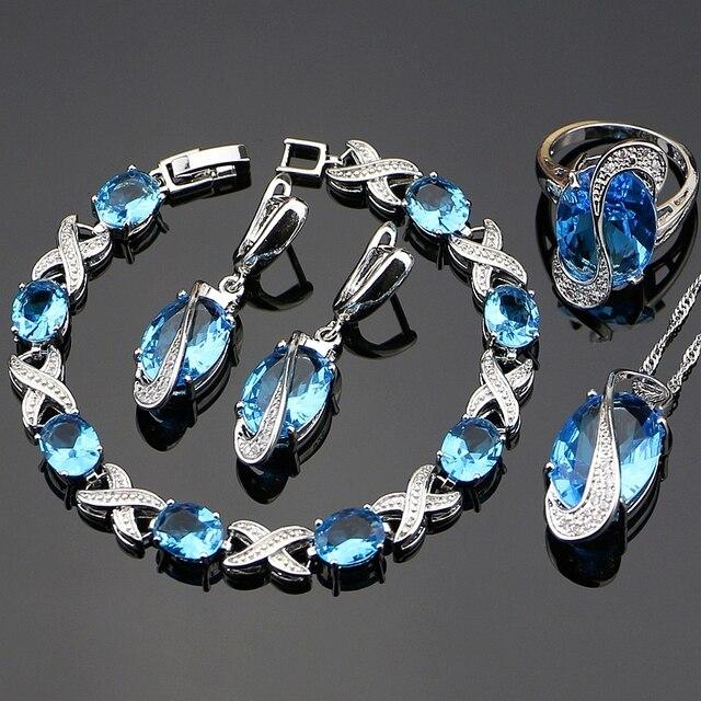 Blue Cubic Zirconia Jewelry White CZ 925 Sterling Silver Jewelry Set Women Earri