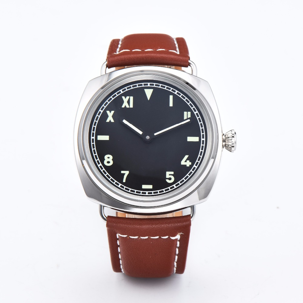 PARNIS 47mm back cover visible sterile dial brown handmade leather wind movement 6497 mens watch 58-5PARNIS 47mm back cover visible sterile dial brown handmade leather wind movement 6497 mens watch 58-5