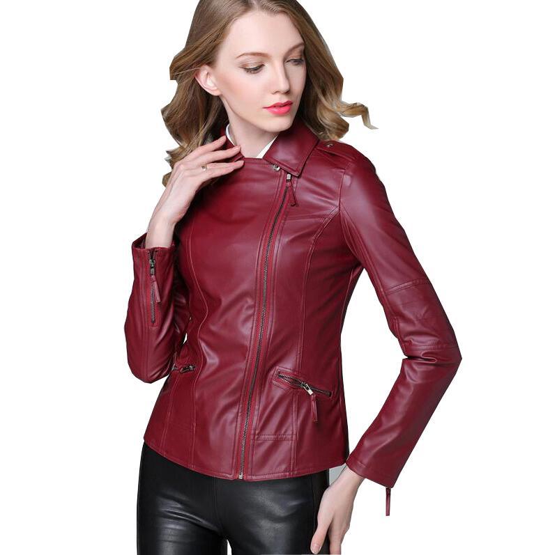 2017 New Autumn Fashion Street Women's Short Washed PU   Leather   Jacket Zipper Ladies Basic Jackets Good Quality s854