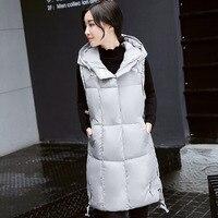 Brieuces 2018Winter Vest Women Hooded Warm Winter Jacket Long Parka Colete Feminino Sleeveless Outwear Cotton Waistcoat Vest