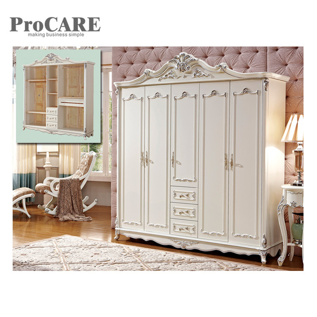 American Antique Style Laminate Frence Solid Wood Armoire Wardrobe 8005