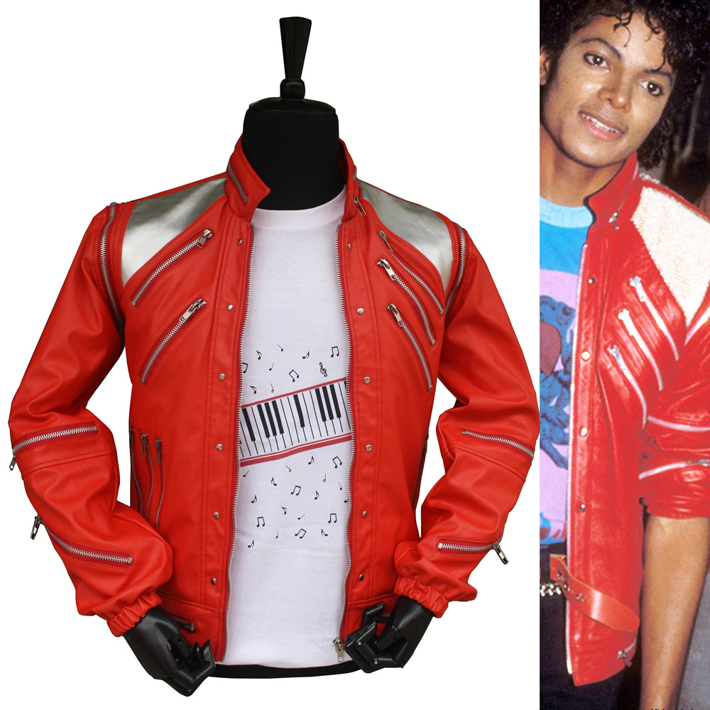 HOT Punk Red Zipper Michael Jackson MJ Beat It Casual Tailor Made America Fashion Style Jacket Outwear Imitation