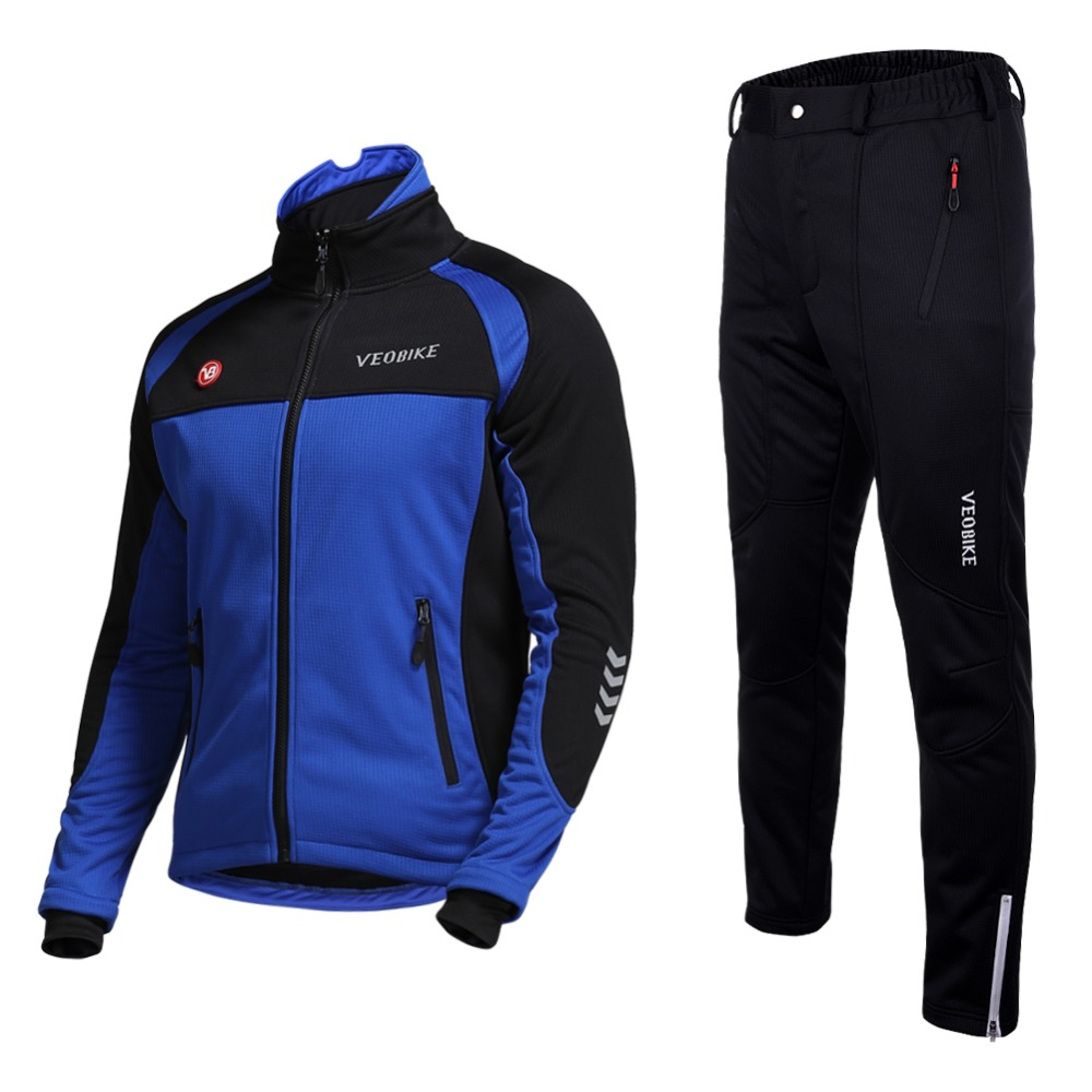 Winter Thermal Men Hiking Jacket Pants Outdoor Sport Exercise Training Wear Sets Simple Style Running Set
