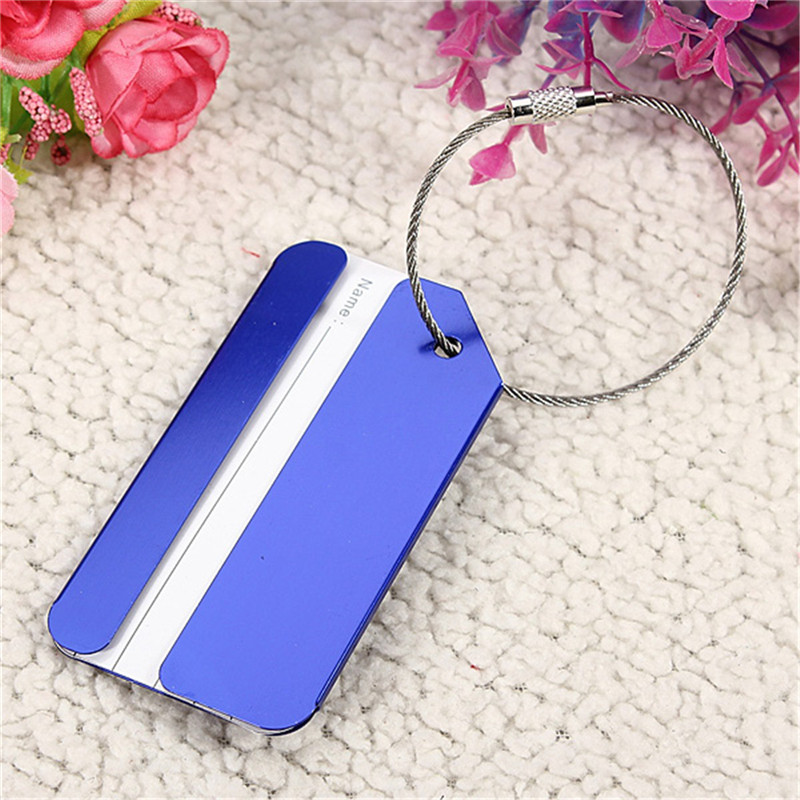 NEW 2 pcs High Quality Safely Colorful Aluminium Metal Travel Luggage Baggage Suitcase Address Tag Label Holder Security Blue new cute 3d cartoon plastic luggage tag travel luggage suitcase baggage travel bag boarding tag lovely address label name id tag