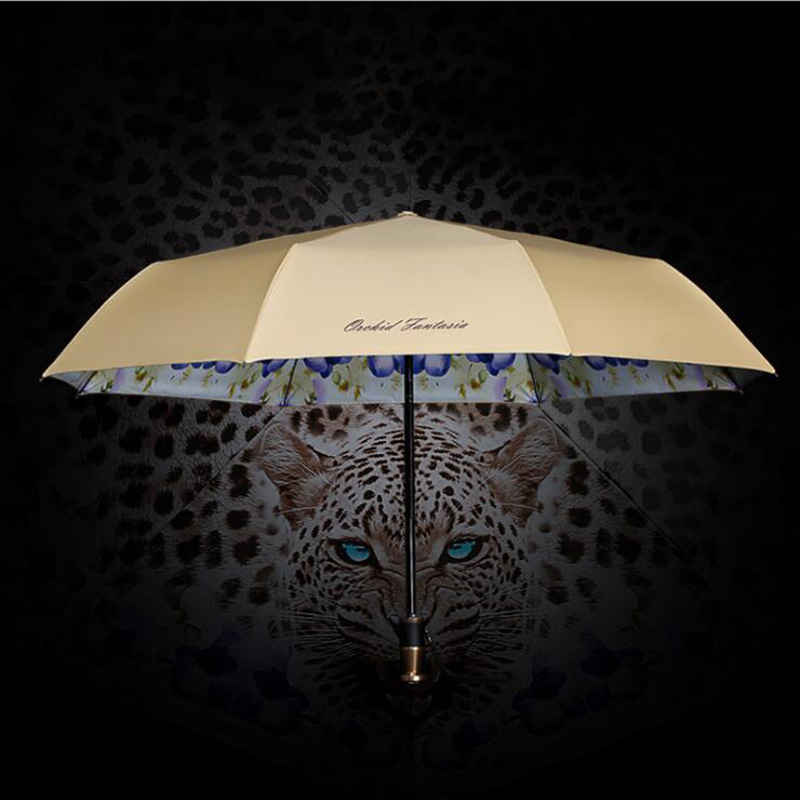 Leopard Folding Umbrella Universal Universal Portable Leopard Print Folding Umbrella Fully Automatic Defense Ultraviolet Light