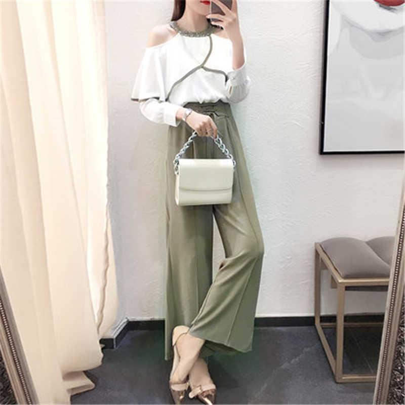 Tcyeek 2019 הכי חדש אופנה נשים 2 חתיכה סט למעלה רחב רגל מכנסיים פופולרי אביב קיץ אלגנטי חשוף כתף חולצות LWL401