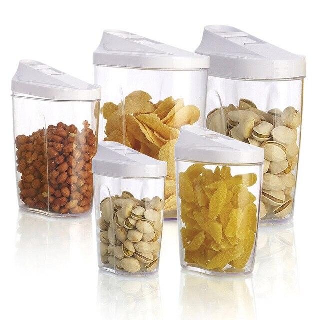 5 Pcs Set Plastic Food Storage Box Set Kitchen Storage Box Nuts Tea