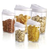 5 Pcs\Set Plastic Food Storage Box Set Kitchen Storage Box Nuts Tea Sugar Container Rice Jars Organizer 300ml to 1440ml