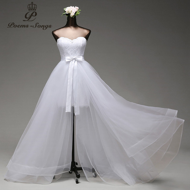 Poemssongs High Quality Mermaid Wedding Dress And Detachable Train Three Layers Of Silky Organza Vestido De