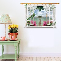 3D Screens View Beach Sunshine Wall Sticker Decal SK9020F Art Decor Home Room Window Door Mural