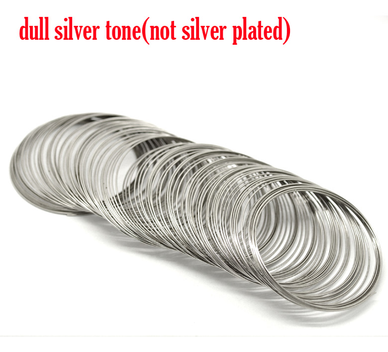 Steel Wire Memory Beading Bracelets Components Round Silver Tone 6.5cm-7cm Dia, 25 Loops New