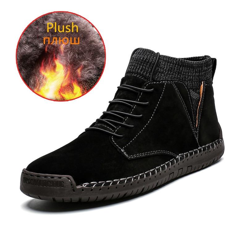 Brand Winter Warm Men Snow Boots High Quality Cow Suede Man Ankle Boots Fur Men Shoes Plush Autumn Basic Drive Boots Big Size 48