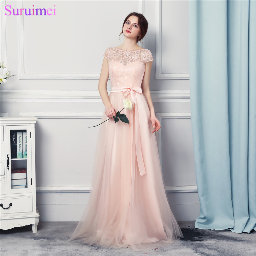 2017 New Arrival Tulle   Prom   Gown Pearl Pink   Prom     Dresses   Long Cap Sleeves With High Quality Lace Applique Bow Sash