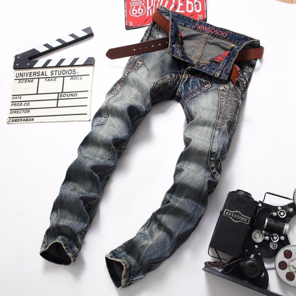 NEW Retro Jeans Mens Classic Biker Motorcycle Jeans Slim hip hop Patch Ripped Denim Hip Hop Streetwear Rap Men Jeans 2017 fashion patch jeans men slim straight denim jeans ripped trousers new famous brand biker jeans logo mens zipper jeans 604