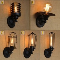 Vintage Paint Industrial Metal Wall Lamp Black Retro Loft style Sconce Lamp Fixtures with E27 Edison Bulb for Hallway Home 220V