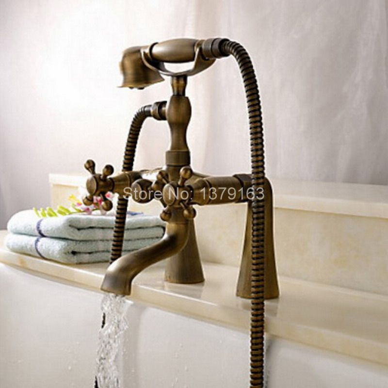 Antique Brass Deck Mounted Bathroom Tub Faucet Dual Cross Handles Telephone Style Hand Shower Clawfoot Tub Filler atf018 antique brass wall mounted bathroom tub faucet dual ceramics handles telephone style hand shower clawfoot tub filler atf018